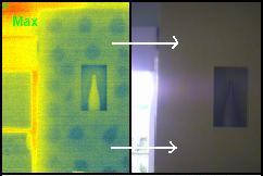 gib board glued to brick - thermal image