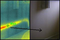 thermal imaging hot water pipe behind wall