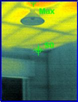 See how the external wall is a different temperature to the ceiling? No ceiling insulation.